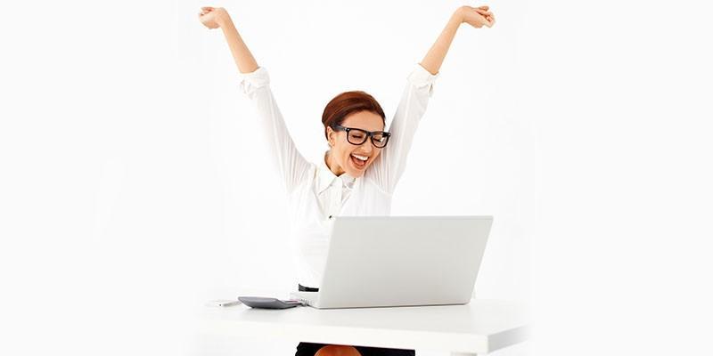 офис жена работа компютър радост