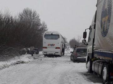 катастрофа Две могили зима автобус и камион