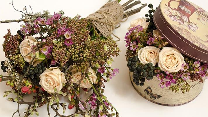 букет със сухи цветя