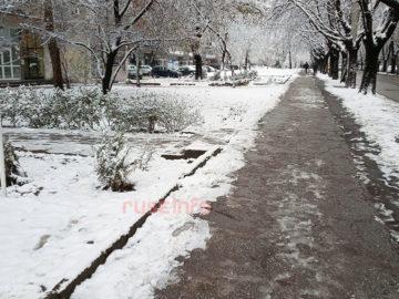 сняг улица зима тротоар лед студ