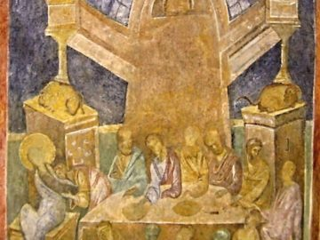 Тайната вечеря, сцена от стенописите на Ивановски скални църкви