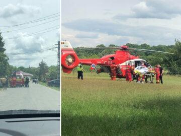 Хеликоптер транспортира пострадал при инцидент в гюргевско село