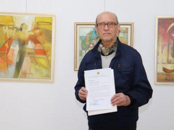 Областният управител поздрави Маньо Манев по случай предстоящото откриване на изложба, посветена на 75-ия му рожден ден